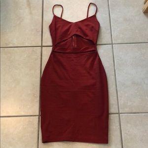 Rust colored body con dress